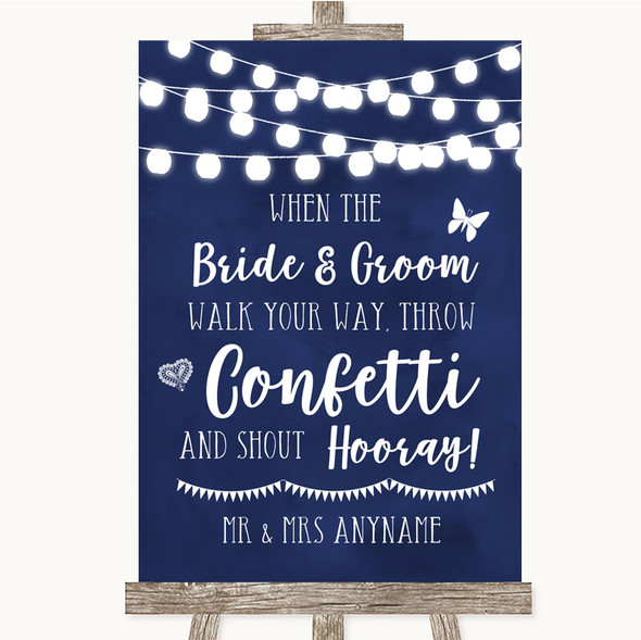 Navy Blue Watercolour Lights Confetti Personalised Wedding Sign