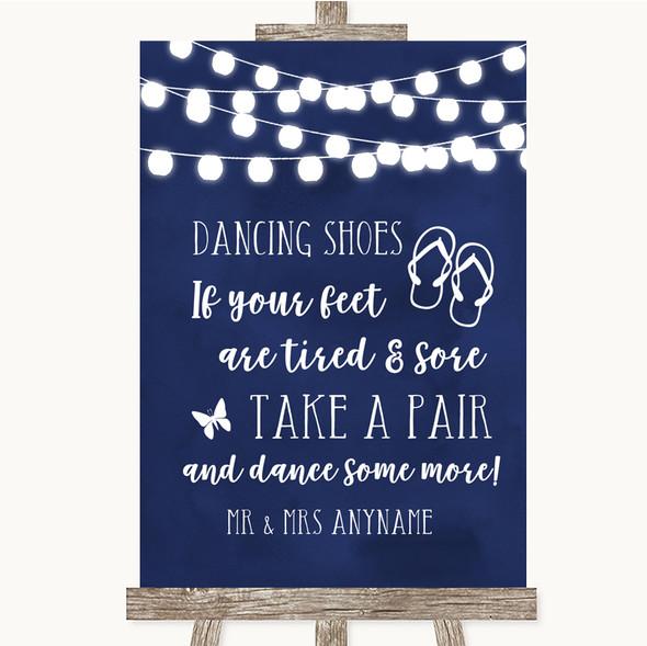 Navy Blue Watercolour Lights Dancing Shoes Flip Flops Personalised Wedding Sign