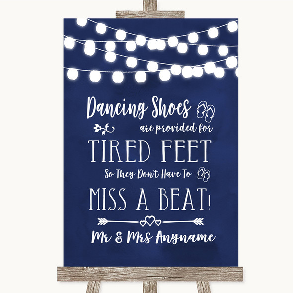 Navy Blue Watercolour Lights Dancing Shoes Flip-Flop Tired Feet Wedding Sign