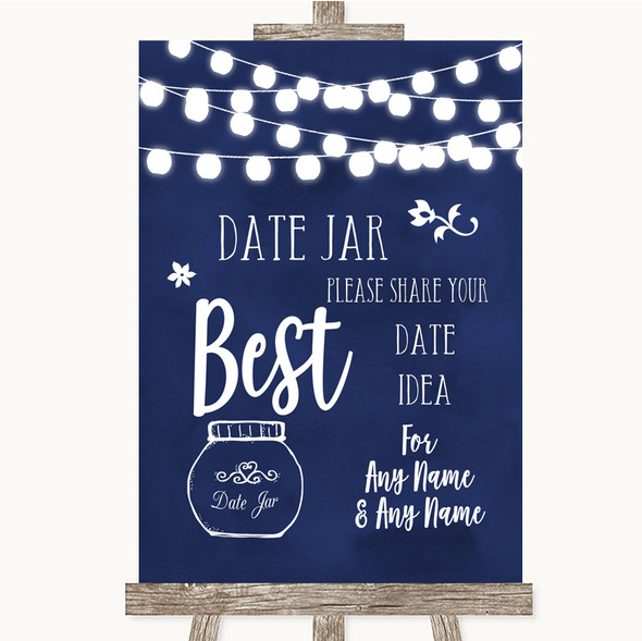 Navy Blue Watercolour Lights Date Jar Guestbook Personalised Wedding Sign