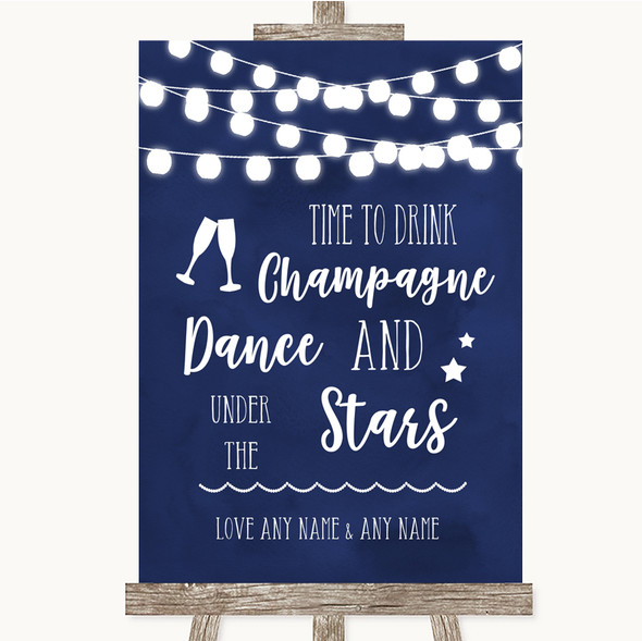 Navy Blue Watercolour Lights Drink Champagne Dance Stars Wedding Sign