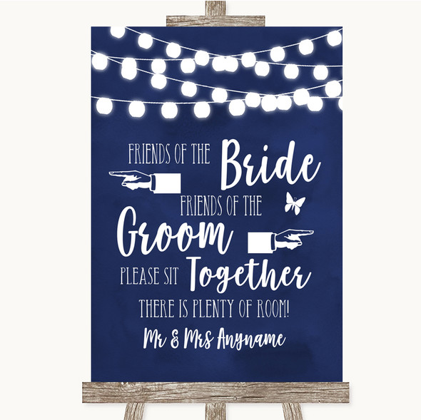Navy Blue Watercolour Lights Friends Of The Bride Groom Seating Wedding Sign