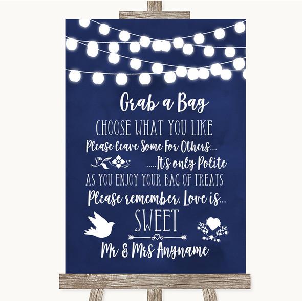 Navy Blue Watercolour Lights Grab A Bag Candy Buffet Cart Sweets Wedding Sign