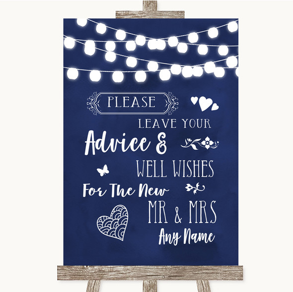Navy Blue Watercolour Lights Guestbook Advice & Wishes Mr & Mrs Wedding Sign