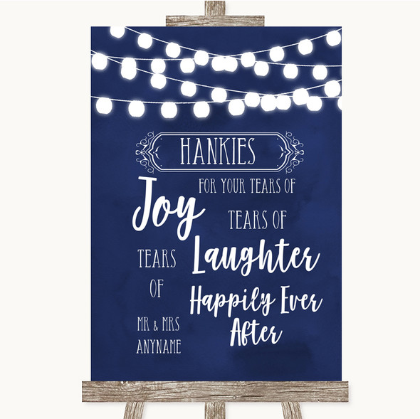 Navy Blue Watercolour Lights Hankies And Tissues Personalised Wedding Sign