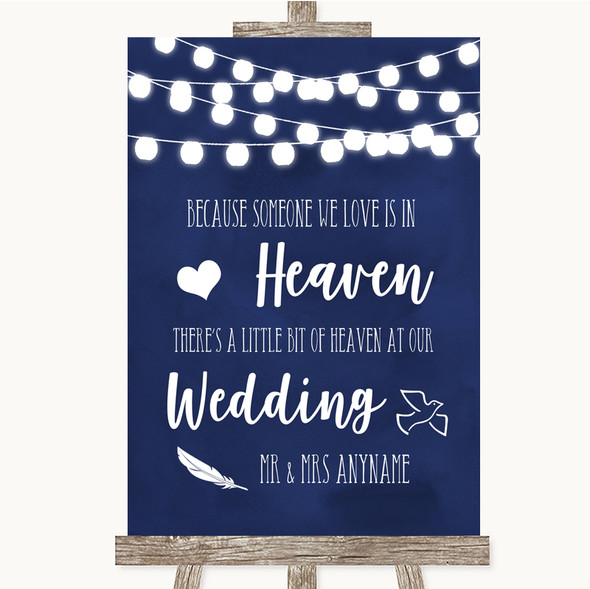 Navy Blue Watercolour Lights Heaven Loved Ones Personalised Wedding Sign