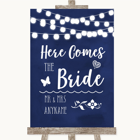 Navy Blue Watercolour Lights Here Comes Bride Aisle Personalised Wedding Sign