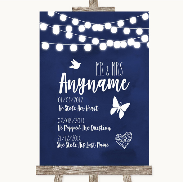 Navy Blue Watercolour Lights Important Special Dates Personalised Wedding Sign