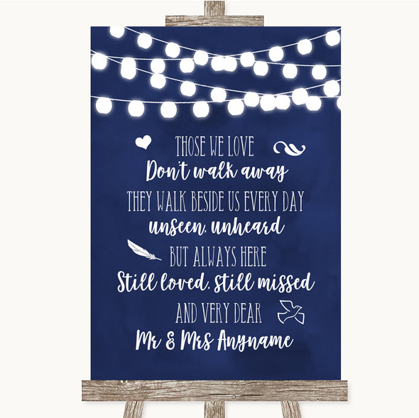 Navy Blue Watercolour Lights In Loving Memory Personalised Wedding Sign