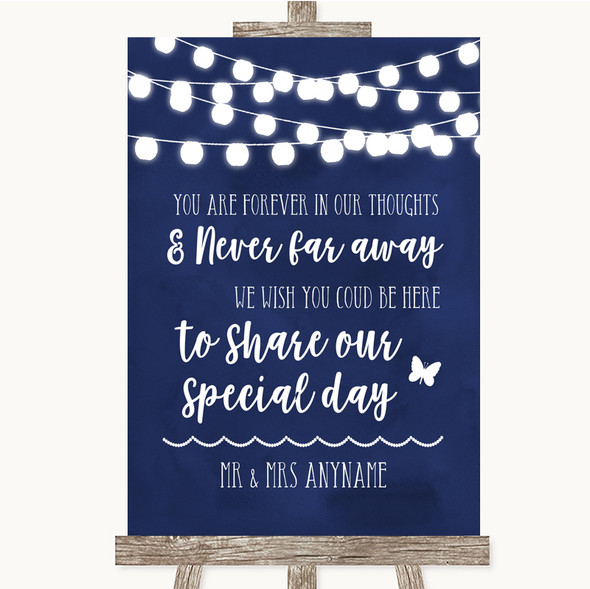 Navy Blue Watercolour Lights In Our Thoughts Personalised Wedding Sign