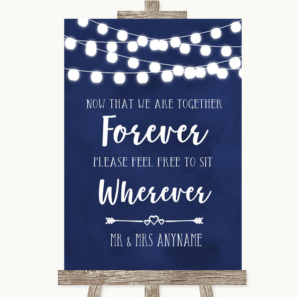 Navy Blue Watercolour Lights Informal No Seating Plan Personalised Wedding Sign