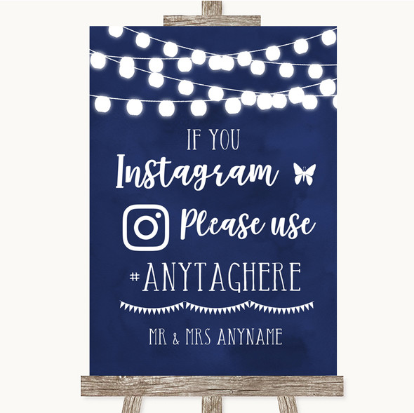 Navy Blue Watercolour Lights Instagram Hashtag Personalised Wedding Sign