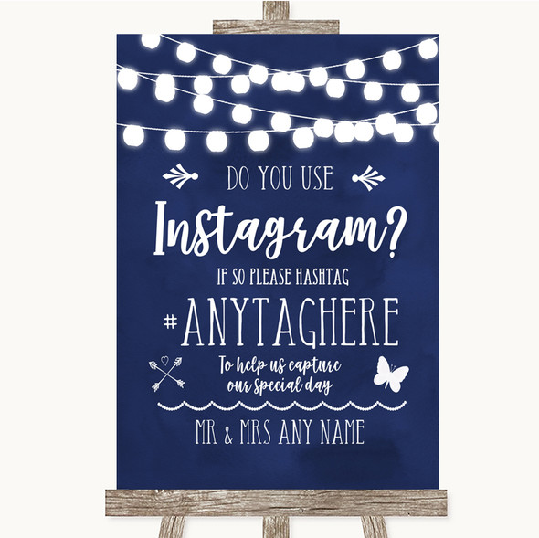 Navy Blue Watercolour Lights Instagram Photo Sharing Personalised Wedding Sign
