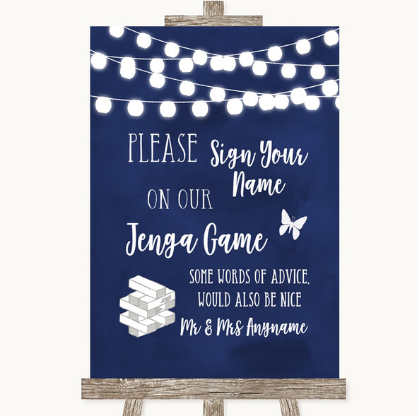Navy Blue Watercolour Lights Jenga Guest Book Personalised Wedding Sign