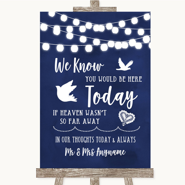 Navy Blue Watercolour Lights Loved Ones In Heaven Personalised Wedding Sign