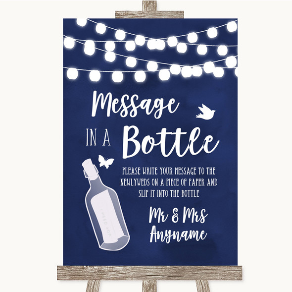 Navy Blue Watercolour Lights Message In A Bottle Personalised Wedding Sign