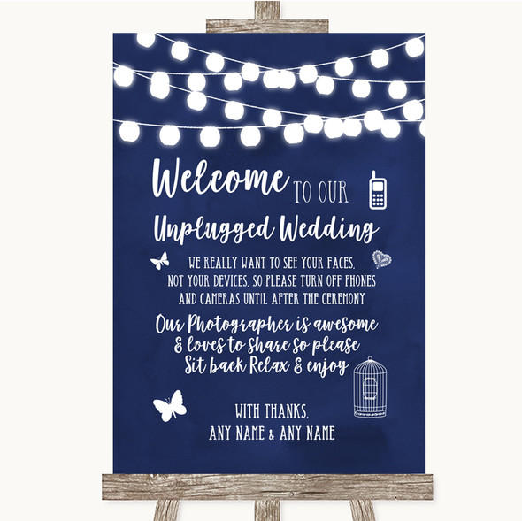 Navy Blue Watercolour Lights No Phone Camera Unplugged Personalised Wedding Sign