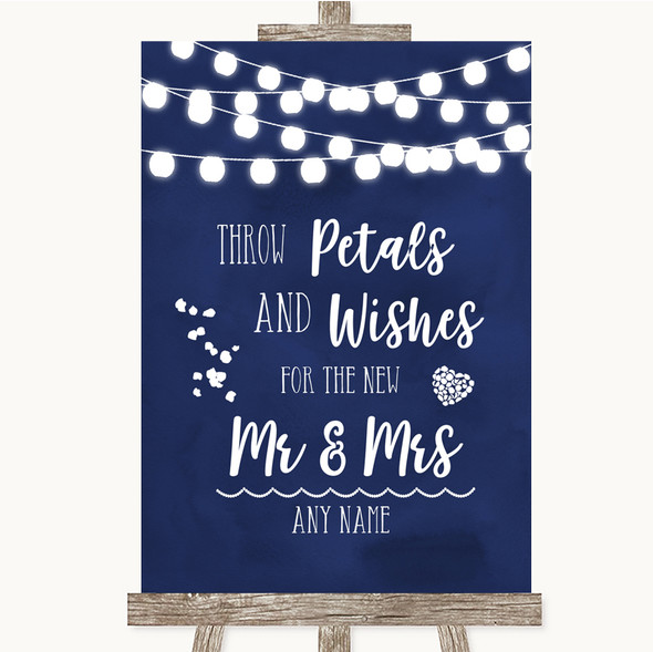 Navy Blue Watercolour Lights Petals Wishes Confetti Personalised Wedding Sign