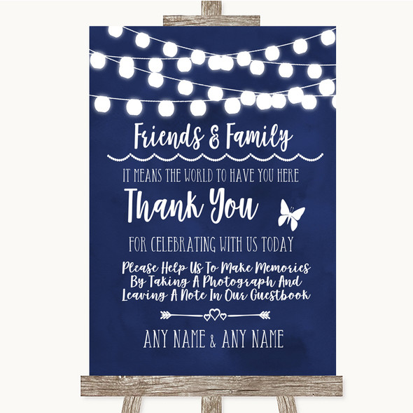 Navy Blue Watercolour Lights Photo Guestbook Friends & Family Wedding Sign