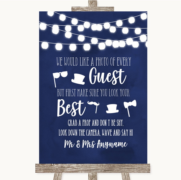 Navy Blue Watercolour Lights Photo Prop Guestbook Personalised Wedding Sign