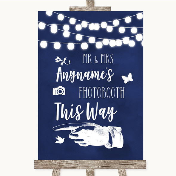 Navy Blue Watercolour Lights Photobooth This Way Left Personalised Wedding Sign