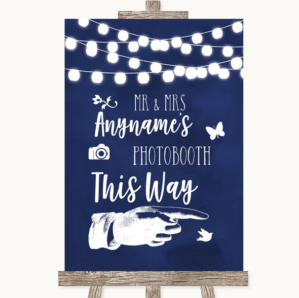 Navy Blue Watercolour Lights Photobooth This Way Right Personalised Wedding Sign