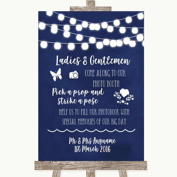 Navy Blue Watercolour Lights Pick A Prop Photobooth Personalised Wedding Sign