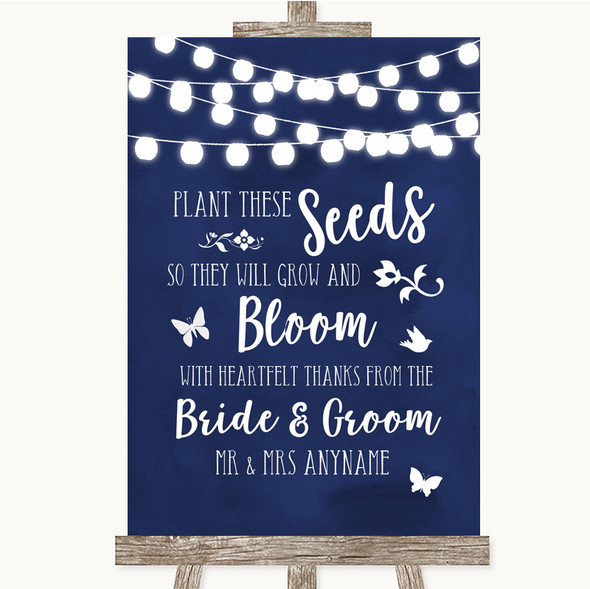 Navy Blue Watercolour Lights Plant Seeds Favours Personalised Wedding Sign