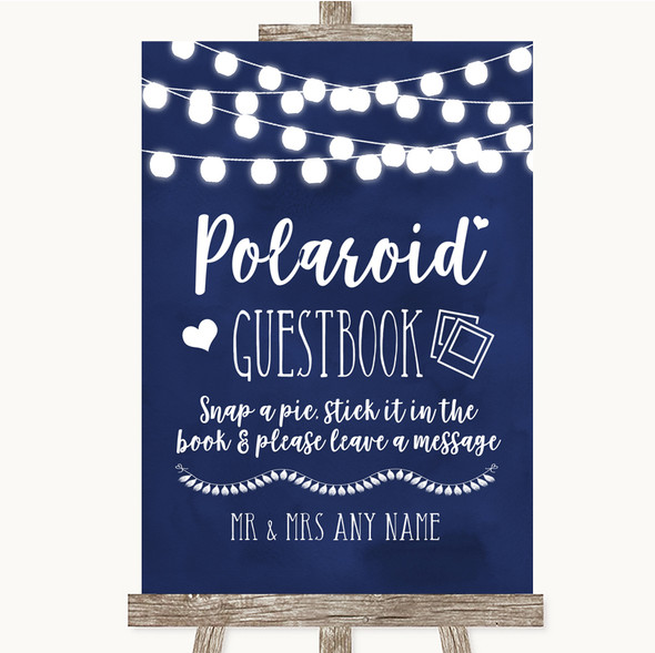 Navy Blue Watercolour Lights Polaroid Guestbook Personalised Wedding Sign