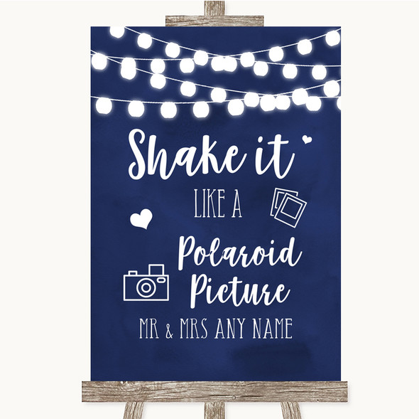 Navy Blue Watercolour Lights Polaroid Picture Personalised Wedding Sign