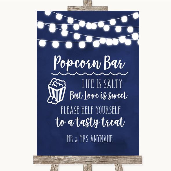 Navy Blue Watercolour Lights Popcorn Bar Personalised Wedding Sign