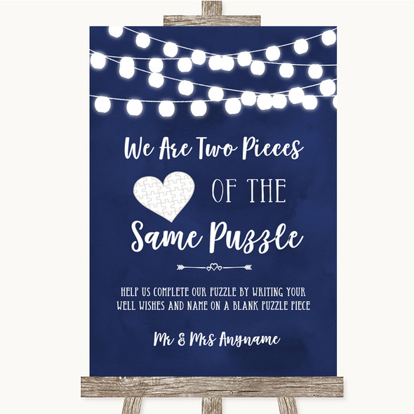 Navy Blue Watercolour Lights Puzzle Piece Guest Book Personalised Wedding Sign