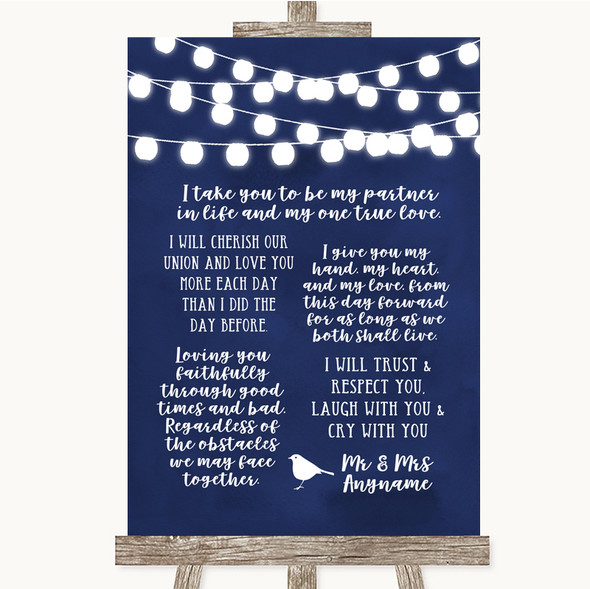 Navy Blue Watercolour Lights Romantic Vows Personalised Wedding Sign