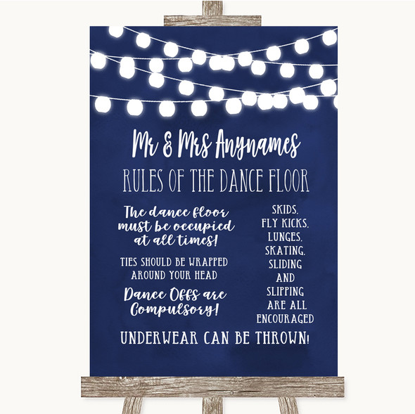 Navy Blue Watercolour Lights Rules Of The Dance Floor Personalised Wedding Sign