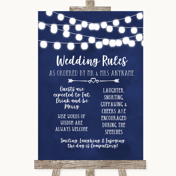 Navy Blue Watercolour Lights Rules Of The Wedding Personalised Wedding Sign