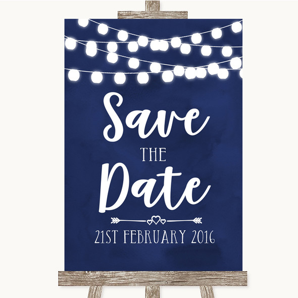 Navy Blue Watercolour Lights Save The Date Personalised Wedding Sign