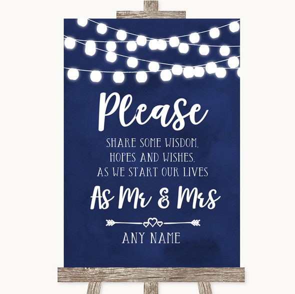 Navy Blue Watercolour Lights Share Your Wishes Personalised Wedding Sign
