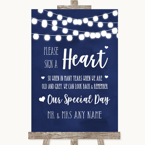 Navy Blue Watercolour Lights Sign a Heart Personalised Wedding Sign