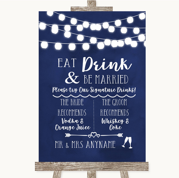 Navy Blue Watercolour Lights Signature Favourite Drinks Wedding Sign