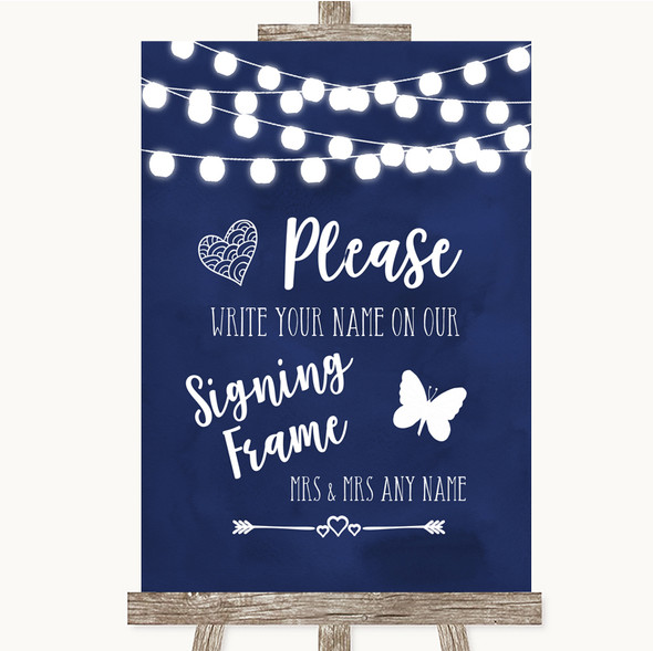 Navy Blue Watercolour Lights Signing Frame Guestbook Personalised Wedding Sign