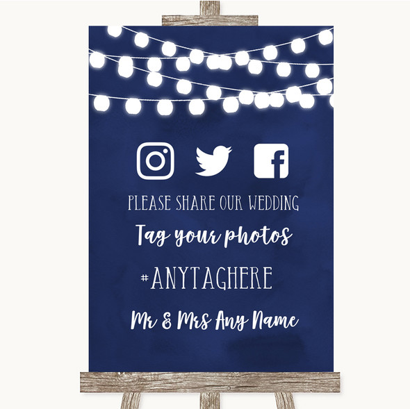Navy Blue Watercolour Lights Social Media Hashtag Photos Wedding Sign