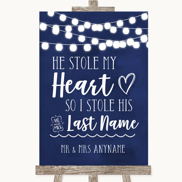 Navy Blue Watercolour Lights Stole Last Name Personalised Wedding Sign