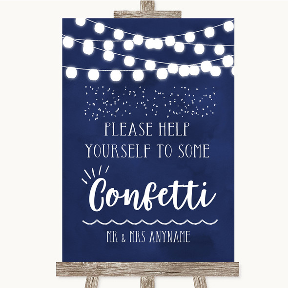 Navy Blue Watercolour Lights Take Some Confetti Personalised Wedding Sign