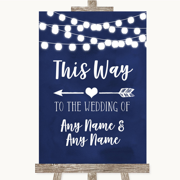 Navy Blue Watercolour Lights This Way Arrow Left Personalised Wedding Sign