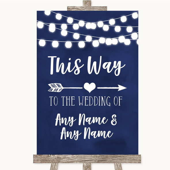 Navy Blue Watercolour Lights This Way Arrow Right Personalised Wedding Sign