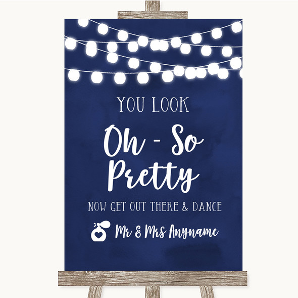 Navy Blue Watercolour Lights Toilet Get Out & Dance Personalised Wedding Sign