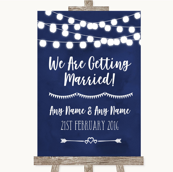 Navy Blue Watercolour Lights We Are Getting Married Personalised Wedding Sign