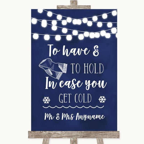 Navy Blue Watercolour Lights Wedding Blanket Scarf Personalised Wedding Sign