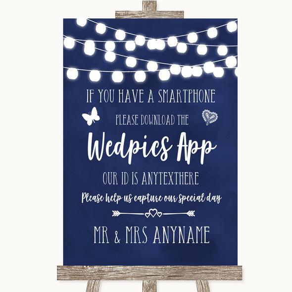 Navy Blue Watercolour Lights Wedpics App Photos Personalised Wedding Sign