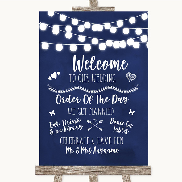 Navy Blue Watercolour Lights Welcome Order Of The Day Personalised Wedding Sign
